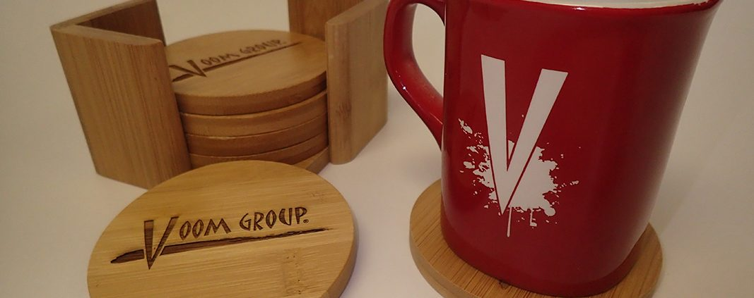 Promotional products can be customized with laser engraving.