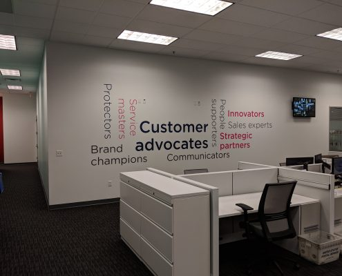 word wall with vinyl wrap